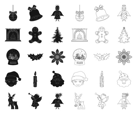 Christmas attributes and accessories black,outline icons in set collection for design. Merry Christmas vector symbol stock illustration.