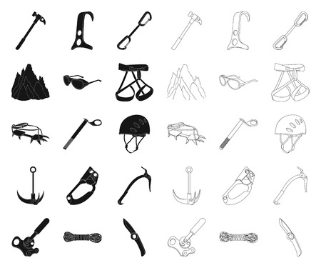 Mountaineering and climbing black,outline icons in set collection for design. Equipment and accessories vector symbol stock  illustration.