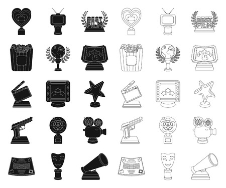 Film awards and prizes black,outline icons in set collection for design. The World Film Academy vector symbol stock  illustration.