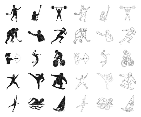 Different kinds of sports black,outline icons in set collection for design. Athlete, competitions vector symbol stock web illustration.