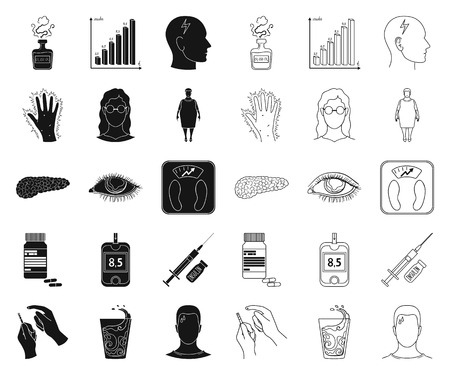 Diabetes black,outline icons in set collection for design. Treatment of diabetes vector symbol stock web illustration. Illustration