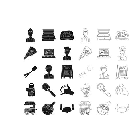 Pizza et pizzeria icônes de contour noir, dans la collection de jeu pour la conception. Illustration de stock de symbole de vecteur de personnel et d'équipement.