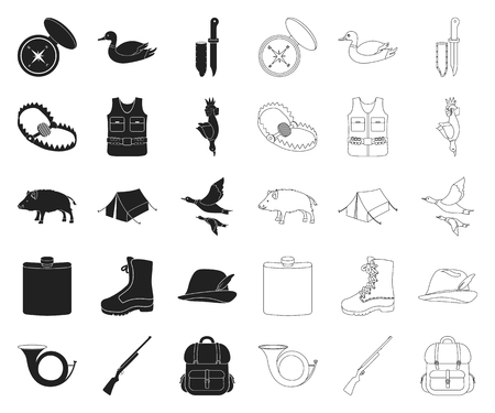 Hunting and trophy black,outline icons in set collection for design. Hunting and equipment vector symbol stock web illustration.