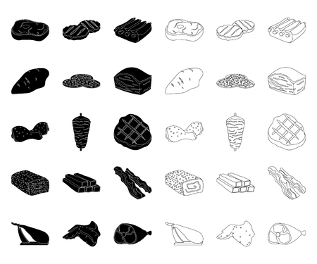 Different meat black,outline icons in set collection for design. Meat product vector symbol stock web illustration. Illustration