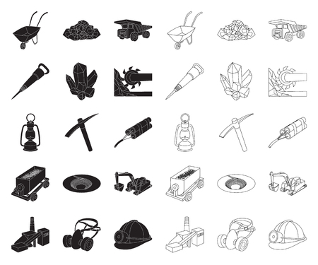 Mining industry black,outline icons in set collection for design. Equipment and tools vector symbol stock web illustration.