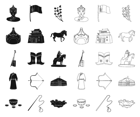Country Mongolia black,outline icons in set collection for design.Territory and landmark vector symbol stock web illustration. Illustration