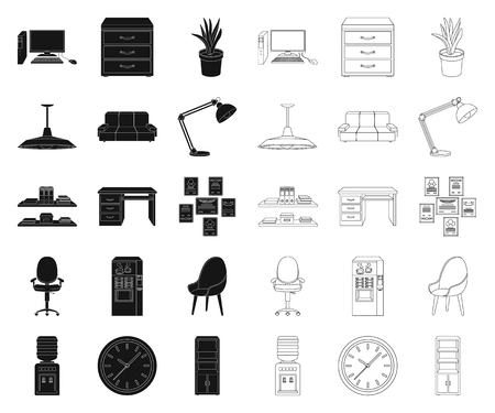 Interior of the workplace black,outline icons in set collection for design. Office furniture vector symbol stock web illustration.