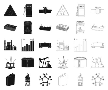 Oil industry black,outline icons in set collection for design. Equipment and oil production vector symbol stock web illustration.