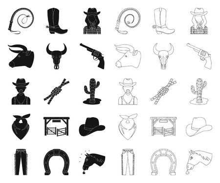 Rodeo, competition black,outline icons in set collection for design. Cowboy and equipment vector symbol stock web illustration.