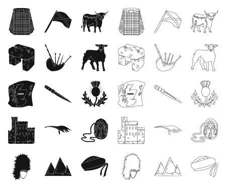 Country Scotland black,outline icons in set collection for design. Sightseeing, culture and tradition vector symbol stock illustration.