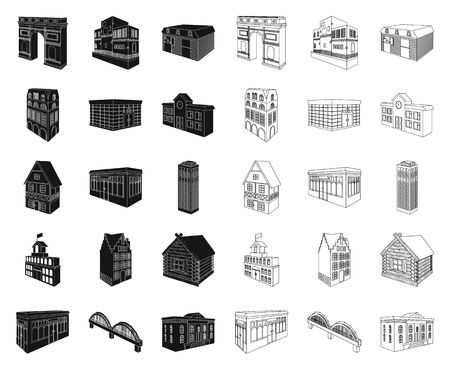 Building and architecture black,outline icons in set collection for design.The building and dwelling vector isometric symbol stock illustration.