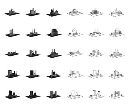 Factory and plant black,outline icons in set collection for design. Production and enterprise vector isometric symbol stock  illustration.