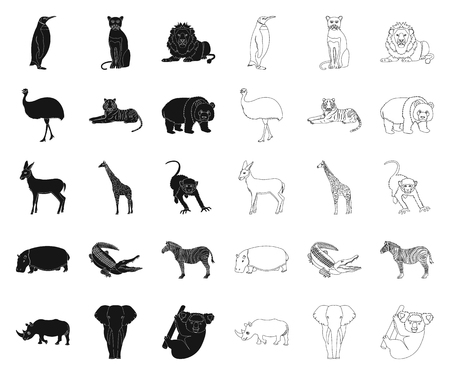 Different animals black,outline icons in set collection for design. Bird, predator and herbivore vector symbol stock  illustration.