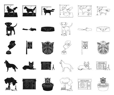 Pet black,outline icons in set collection for design. Care and education vector symbol stock web illustration.