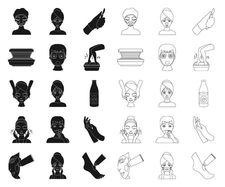 Pielęgnacja skóry czarny, ikony konspektu w kolekcji zestaw do projektowania. Twarz i ciało wektor symbol ilustracji.