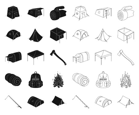 Different kinds of tents black,outline icons in set collection for design. Temporary shelter and housing vector symbol stock  illustration.