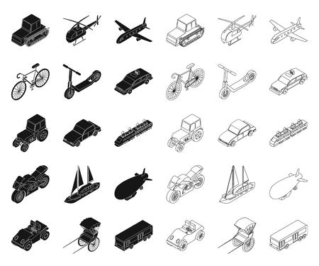 Different types of transport black,outline icons in set collection for design. Car and ship isometric vector symbol stock  illustration.