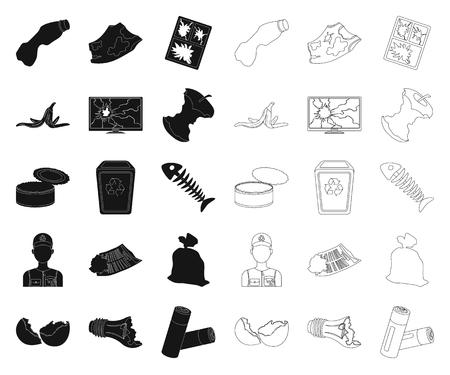 Ordures et déchets noirs, icônes de contour dans la collection de jeux pour la conception. Nettoyage des ordures vecteur symbole stock illustration.