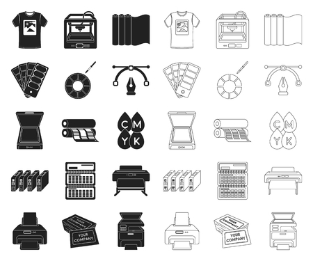 Typographical products black,outline icons in set collection for design. Printing and equipment vector symbol stock  illustration.