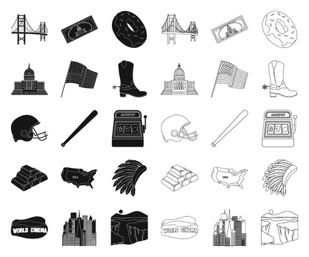 USA country black,outline icons in set collection for design.Travel and attractions vector symbol stock  illustration.
