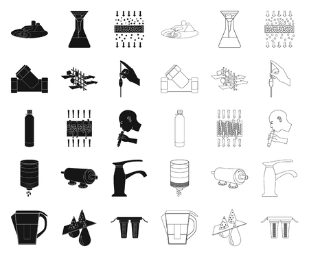 Water filtration system black,outline icons in set collection for design. Cleaning equipment vector symbol stock  illustration. Illustration