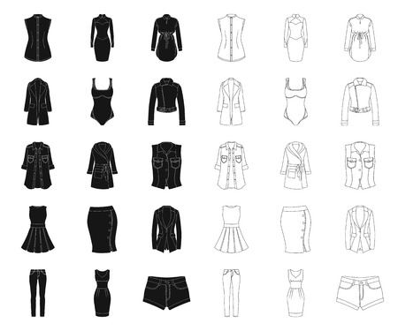 Women Clothing black,outline icons in set collection for design.Clothing Varieties and Accessories vector symbol stock illustration.