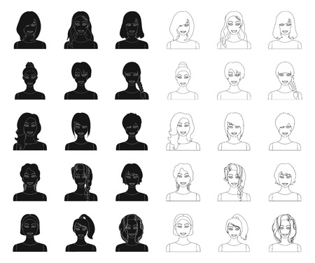 Types of female hairstyles black,outline icons in set collection for design. Appearance of a woman vector symbol stock illustration.