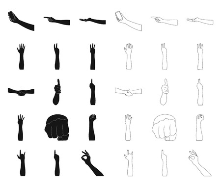 Gestures and their meaning black,outline icons in set collection for design.Emotional part of communication vector symbol stock  illustration.