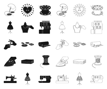 Atelier and equipment black,outline icons in set collection for design. Sewing of outer clothing vector symbol stock  illustration.