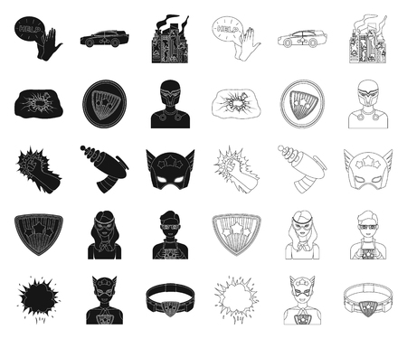A fantastic superhero black,outline icons in set collection for design. Superhero equipment vector symbol stock illustration.