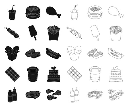 Fast food black,outline icons in set collection for design.Food from semi-finished products vector symbol stock  illustration.