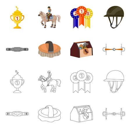 Isolated object of equipment and riding symbol. Collection of equipment and competition stock vector illustration.