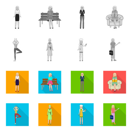 Isolated object of posture and mood icon. Set of posture and female vector icon for stock. Stock Illustratie