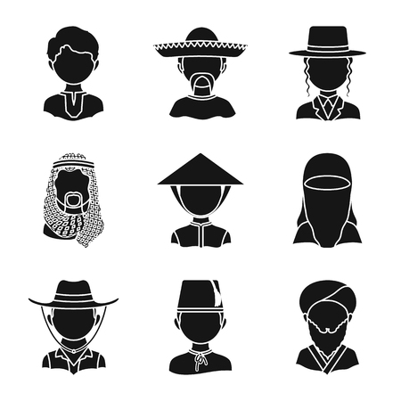 Vector illustration of person and culture symbol. Set of person and race vector icon for stock.