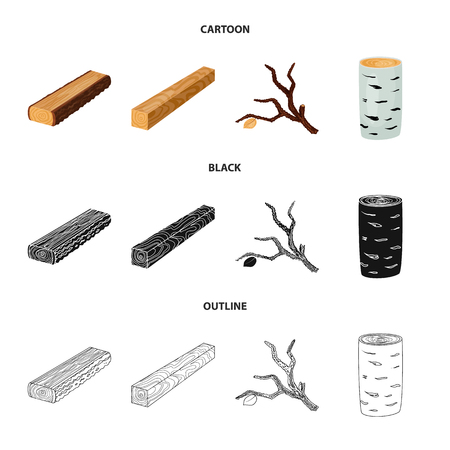 Isolated object of tree   and raw  icon. Set of tree   and construction stock symbol for web.