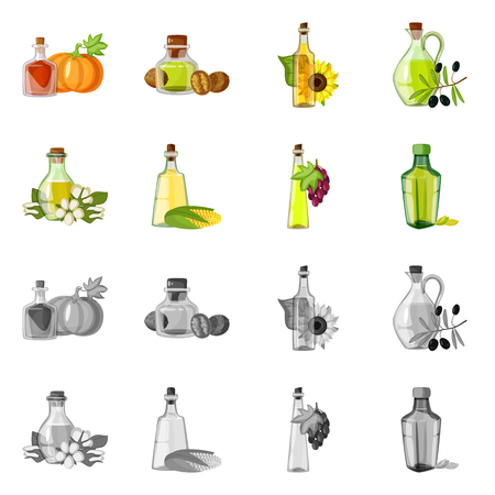Isolated object of healthy and vegetable sign. Collection of healthy and agriculture stock vector illustration.