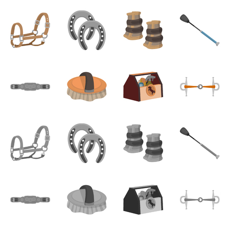 Isolated object of equipment and riding symbol. Set of equipment and competition stock symbol for web. Illusztráció