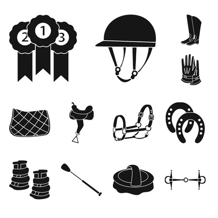 Vector design of sport and competition icon. Set of sport and equestrian vector icon for stock.