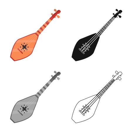 Vector design of musical and instrument symbol. Collection of musical and stringed stock symbol for web. Иллюстрация