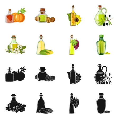 Isolated object of healthy  and vegetable  sign. Set of healthy  and agriculture stock vector illustration. Ilustração