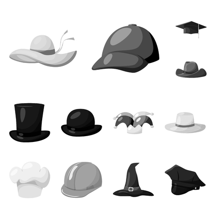 Vector design of hat and helmet sign. Collection of hat and profession stock symbol for web.