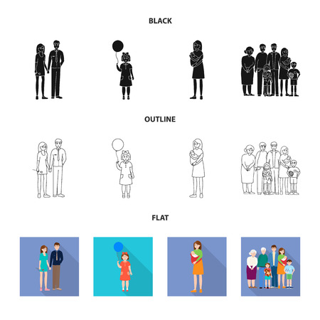 Vector illustration of character and avatar. Collection of character and portrait vector icon for stock.