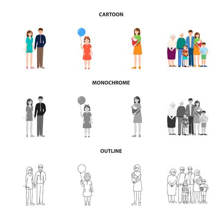 Isolated object of character and avatar  sign. Collection of character and portrait vector icon for stock. Illustration