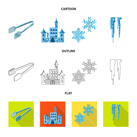 Isolated object of texture and frozen. Collection of texture and transparent stock symbol for web.