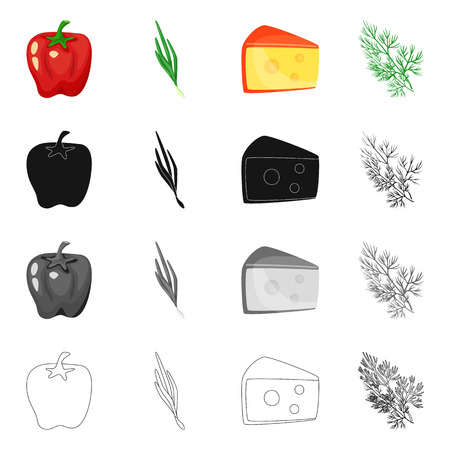 Vector illustration of taste and product. Collection of taste and cooking vector icon for stock. Ilustrace