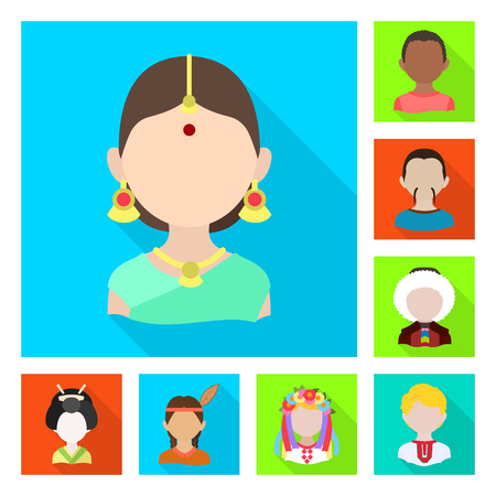 Isolated object of nation and race  icon. Set of nation and user vector icon for stock.