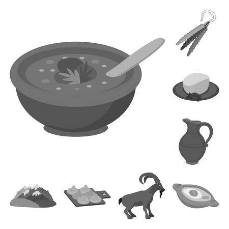 Vector illustration of attributes and tourism symbol. Set of attributes and national vector icon for stock. Illustration