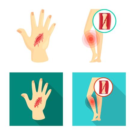 Objet isolé de l'hôpital et icône de rendu. Ensemble d'hôpital et aidez l'illustration vectorielle stock.