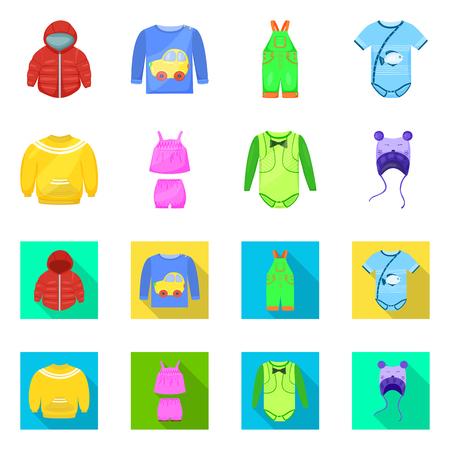 Vector illustration of fashion and garment. Set of fashion and cotton stock vector illustration.
