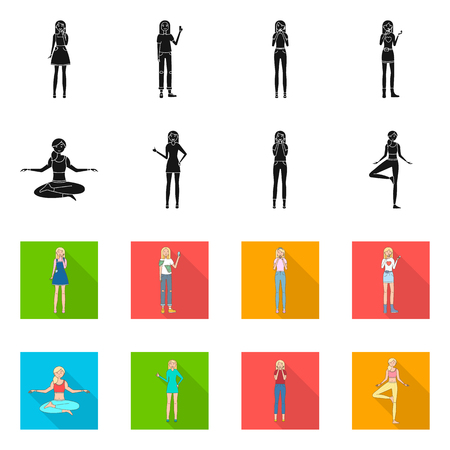 Vector illustration of posture and mood icon. Set of posture and female vector icon for stock.